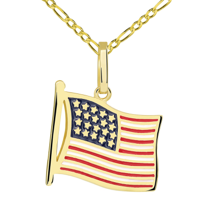 14k Yellow Gold National Flag of the United States of America Pendant with Figaro Necklace