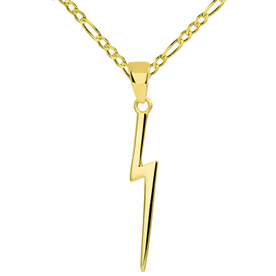 Solid 14k Yellow Gold Lightning Bolt Pendant with Figaro Chain Necklace