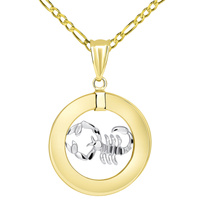 14k Two Tone Gold Open Circle Scorpio Zodiac Sign Pendant with Figaro Necklace
