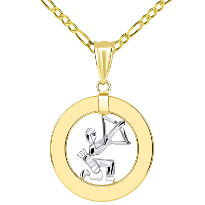 14k Two Tone Gold Open Circle Sagittarius Zodiac Sign Pendant Figaro Necklace
