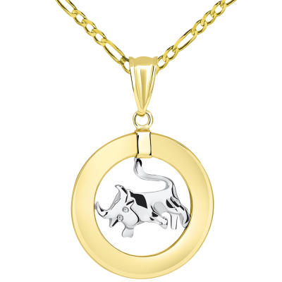 14k Two Tone Gold Open Circle Taurus Zodiac Sign Pendant Figaro Necklace