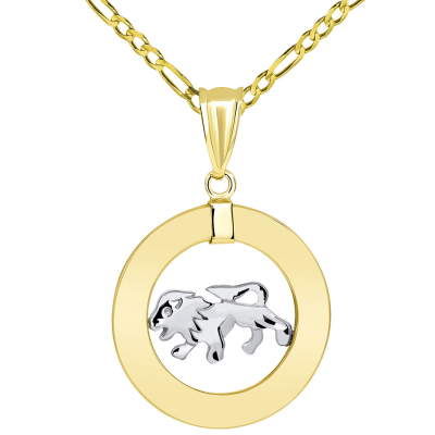 14k Two Tone Gold Open Circle Leo Zodiac Sign Pendant Figaro Necklace