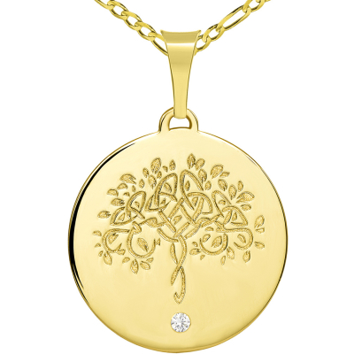 14k Solid Yellow Gold Hand Engraved Tree of Life CZ Round Medallion Pendant with Figaro Chain Necklace