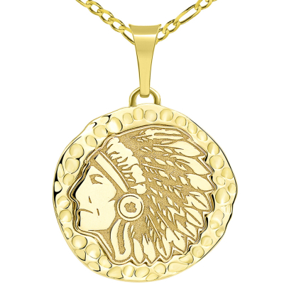 14k Yellow Gold Hand Engraved Native American Chief Indian Head Round Pendant with Figaro Chain Necklace