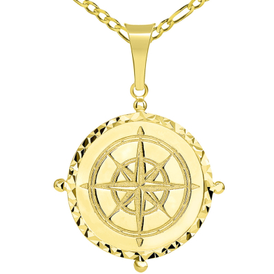 Solid 14k Yellow Gold Well Detailed Classic Compass Pendant with Figaro Chain Necklace