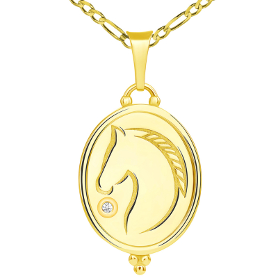 Hand Engraved 14k Yellow Gold CZ Solitaire Stallion Horse Oval Medallion Pendant with Figaro Chain Necklace