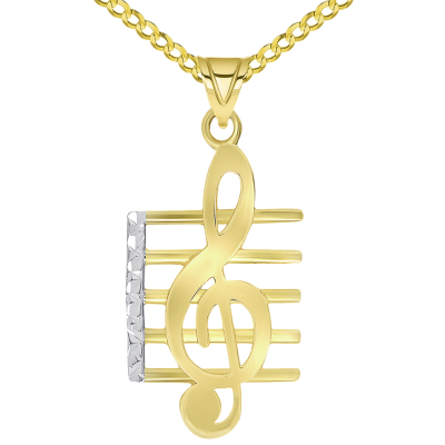 14k Yellow Gold Textured G Clef Musical Note On Staff Pendant Necklace with Cable, Curb, or Figaro Chain