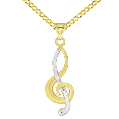 14k Yellow Gold Textured G Clef Charm Two Tone Musical Note Pendant Necklace Available with Rolo, Curb, or Figaro Chain
