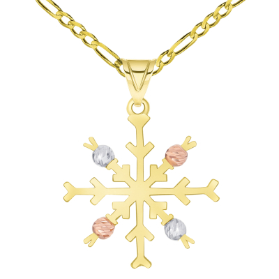 Solid 14k Tri-Color Gold High Polish Snowflake with Textured Beads Pendant Available with Figaro Chain