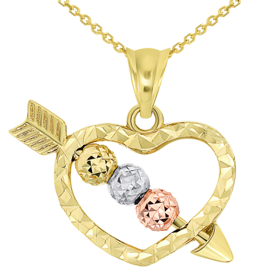 14k Tri-Color Gold Beaded Cupid's Love Arrow Through Textured Small Heart Pendant Necklace with Cable Chain