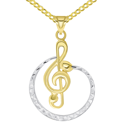 14k Yellow Gold Textured Two Tone Cirlce G Clef Charm Musical Note Pendant Available with Rolo, Curb, or Figaro Chain