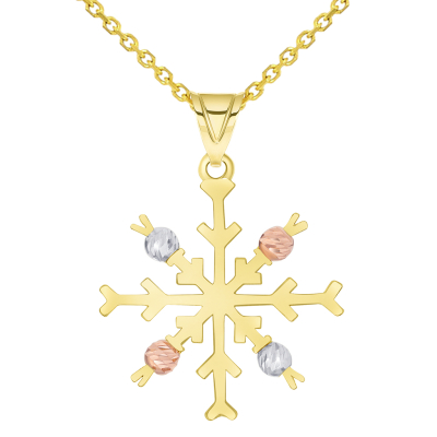Solid 14k Tri-Color Gold High Polish Snowflake with Textured Beads Pendant Available with Rolo, Curb, or Figaro Chain