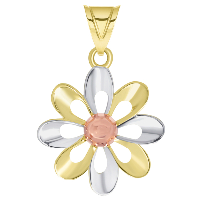 14k Yellow Gold and Rose Gold High Polish Tri-Tone Open Daisy Charm Pendant