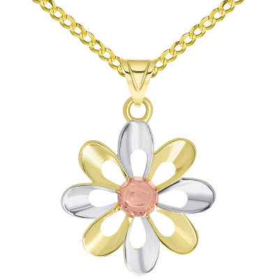 14k Yellow Gold and Rose Gold High Polish Tri-Tone Open Daisy Charm Pendant Available with Rolo, Curb, or Figaro Chain