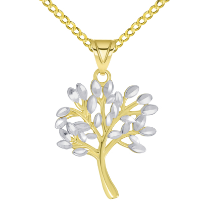 14k Solid Yellow Gold Textured Two Tone Tree of Life Pendant Necklace Available with Rolo, Curb, or Figaro Chain