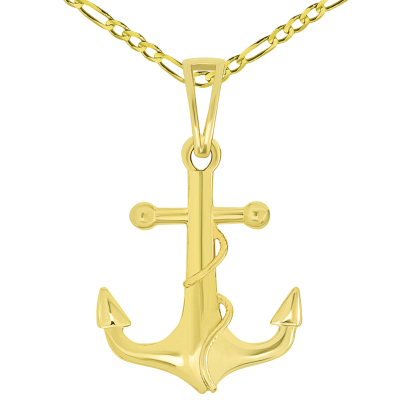 Solid 14k Yellow Gold Maritime Anchor with Rope Pendant Necklace Available with Rolo, Curb, or Figaro Chain Necklaces