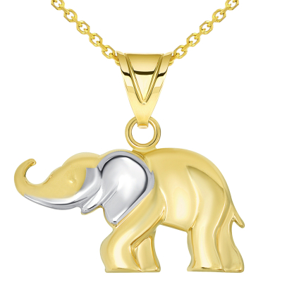 14k Yellow Gold High Polished Two Tone Elephant Pendant Necklace with Cable, Curb, or Figaro Chain