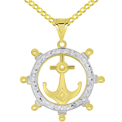 14k Yellow Gold Textured Two Tone Anchor Inside Ships Wheel Pendant Necklace Available with Rolo, Curb, or Figaro Chain Necklaces