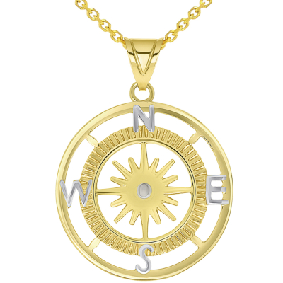 14k Yellow Gold Two Tone 16-Wind Point Compass Rose Pendant Necklace Available with Rolo, Curb, or Figaro Chain Necklaces
