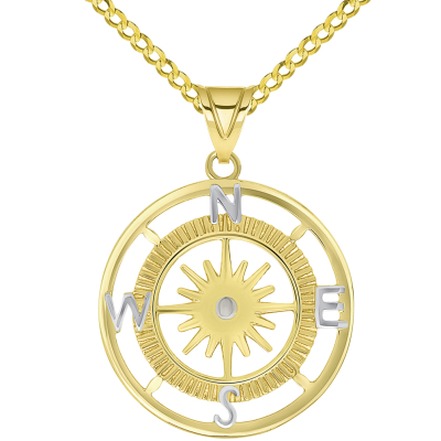 14k Yellow Gold Two Tone 16-Wind Point Compass Rose Pendant Necklace Available with Curb Chain Necklaces