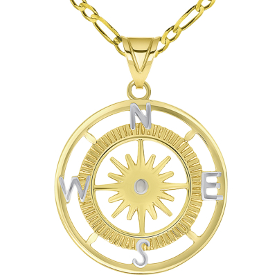 14k Yellow Gold Two Tone 16-Wind Point Compass Rose Pendant Necklace Available with Figaro Chain Necklaces