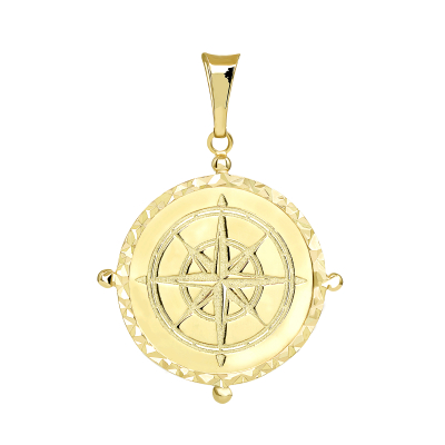 Solid 14k Yellow Gold Well Detailed Classic Compass Pendant