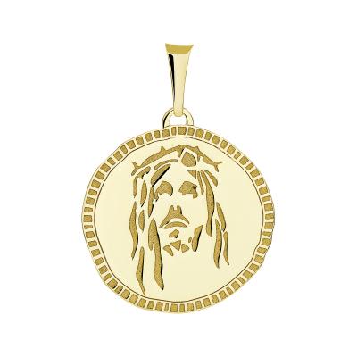 14k Yellow Gold Hand Engraved Face of Jesus Christ Medallion Pendant