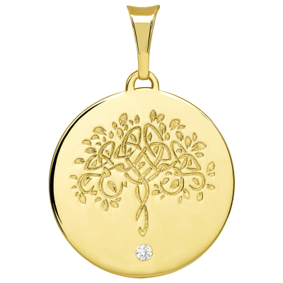 14k Solid Yellow Gold Hand Engraved Tree of Life CZ Round Medallion Pendant