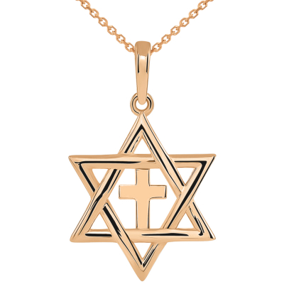 14k Rose Gold Jewish Star of David with Religious Cross Judeo Christian Pendant Necklace