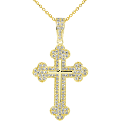 14k Yellow Gold Micro-Pave CZ Stones Eastern Orthodox Linear Cross Pendant Necklace