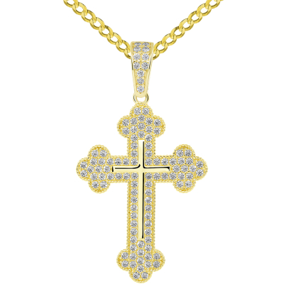 14k Yellow Gold Micro-Pave CZ Stones Eastern Orthodox Linear Cross Pendant with Cuban Chain Necklace