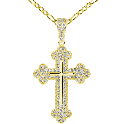 14k Yellow Gold Micro-Pave CZ Stones Eastern Orthodox Linear Cross Pendant with Figaro Chain Necklace