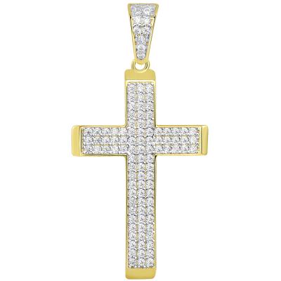 14k Yellow Gold Beveled Edge Classic Cross Pendant with Cubic Zirconia