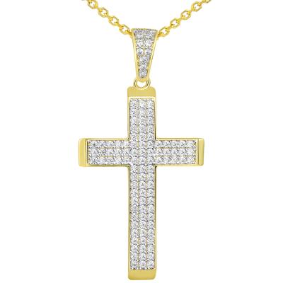 14k Yellow Gold Cubic Zirconia Beveled Edge Classic Cross Pendant Necklace
