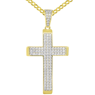 14k Yellow Gold Cubic Zirconia Beveled Edge Classic Cross Pendant Cuban Necklace