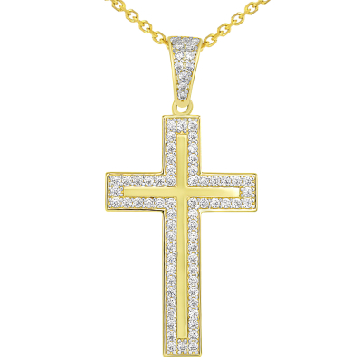 14k Yellow Gold Cubic Zirconia Elegant Traditional Latin Cross Pendant Necklace