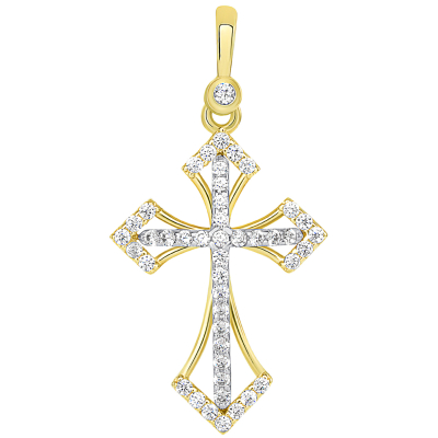 14k Two Tone Gold CZ Elegant Orthodox Christian Cross Pendant