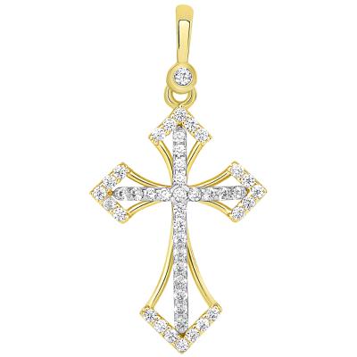 14k Two Tone Gold CZ Elegant Orthodox Christian Cross Pendant