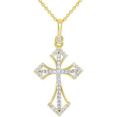 14k Two Tone Gold CZ Elegant Orthodox Christian Cross Pendant Necklace