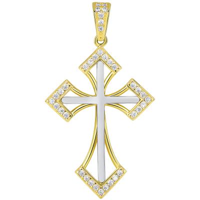 14k Two Tone Gold CZ Elegant Pointed Open-Back Religious Cross Pendant