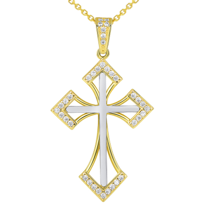 14k Two Tone Gold CZ Elegant Pointed Open-Back Religious Cross Pendant Necklace