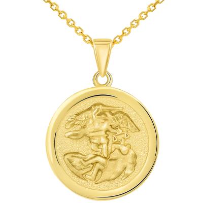 Solid 14k Yellow Gold Round Saint Michael the Archangel Medallion Pendant Necklace