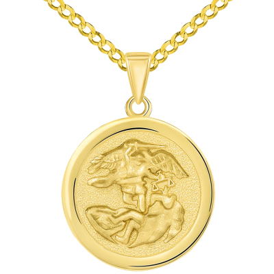 Solid 14k Yellow Gold Round Saint Michael the Archangel Medallion Pendant with Cuban Curb Chain Necklace