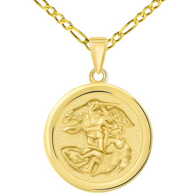 Solid 14k Yellow Gold Round Saint Michael the Archangel Medallion Pendant with Figaro Chain Necklace