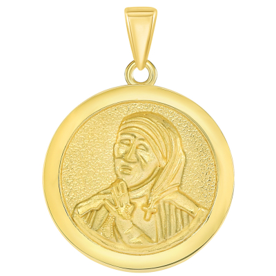 Solid 14k Yellow Gold Round Mother Teresa Medallion Pendant