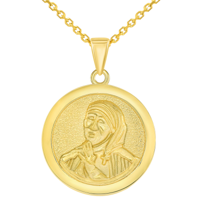 Solid 14k Yellow Gold Round Mother Teresa Medallion Pendant Necklace
