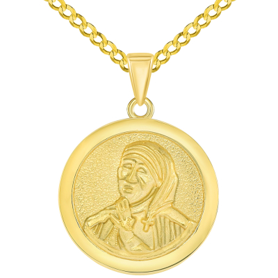 Solid 14k Yellow Gold Round Mother Teresa Medallion Pendant with Curb Chain Necklace