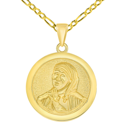 Solid 14k Yellow Gold Round Mother Teresa Medallion Pendant with Figaro Chain Necklace