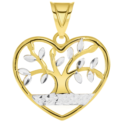 14k Yellow Gold Textured Heart Shaped Two Tone Tree of Life Pendant