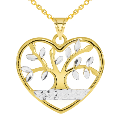 14k Yellow Gold Textured Heart Shaped Two Tone Tree of Life Pendant Necklace